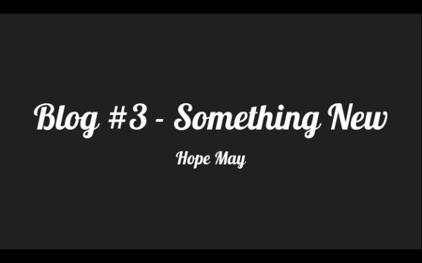 Blog #3: Something New - Hope May