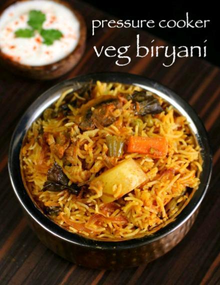Veg biryani recipe in pressure cooker