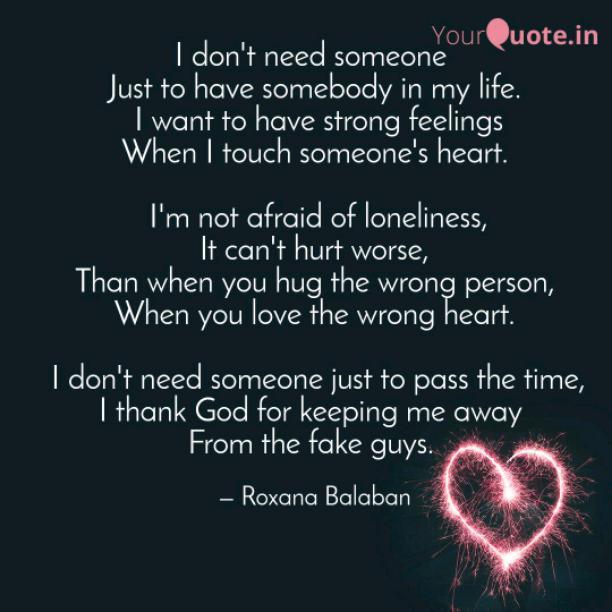 I don't need someone