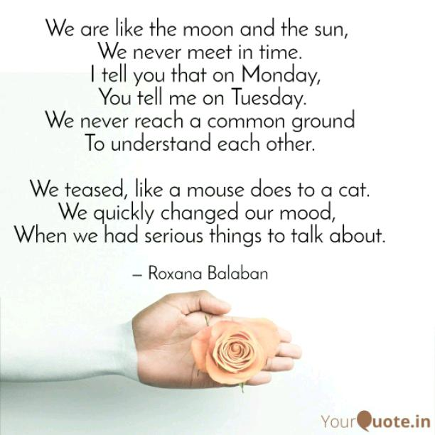 We are like the moon and the sun