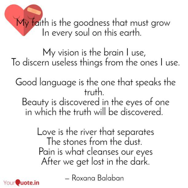 My faith is the goodness