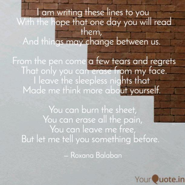 I am writing these lines to you