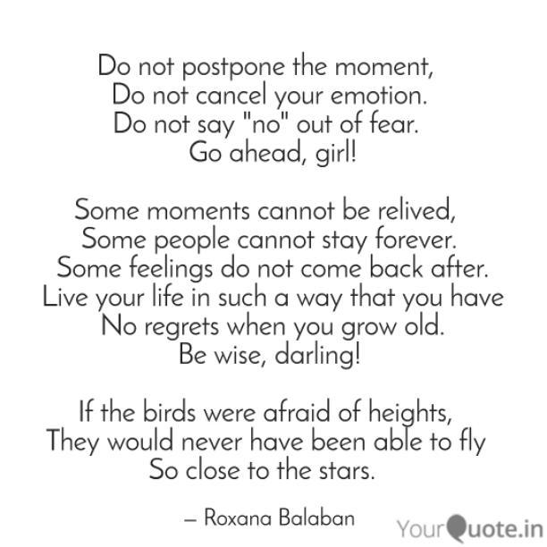 Do not postpone