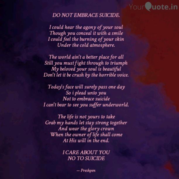 DO NOT EMBRACE SUICIDE