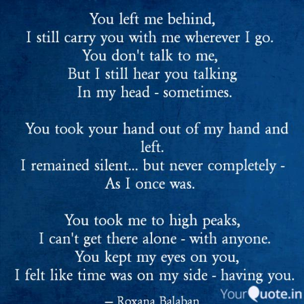 You left me behind