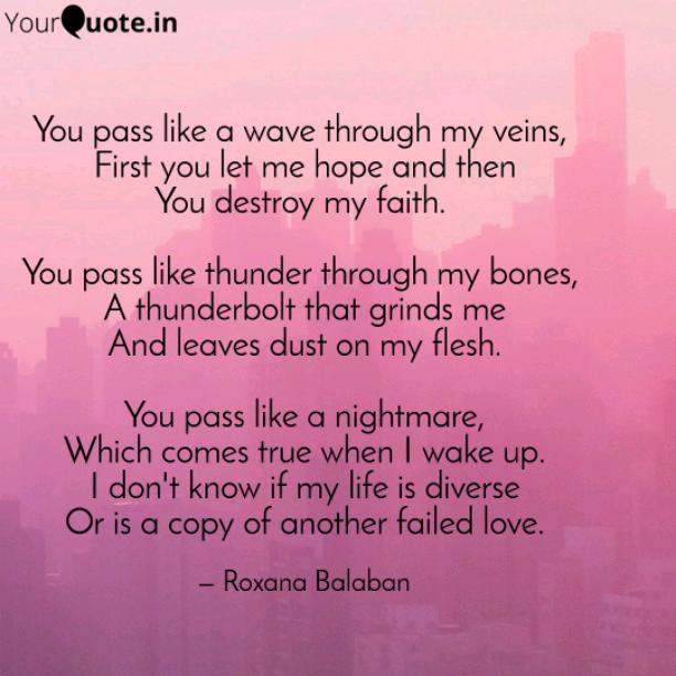 You destroy my faith