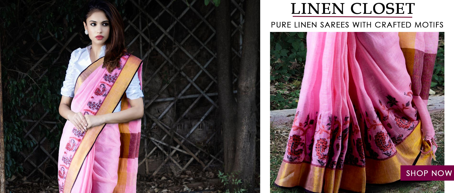 Drape into the super soft linen's with authentic block prints @Unnatisilks