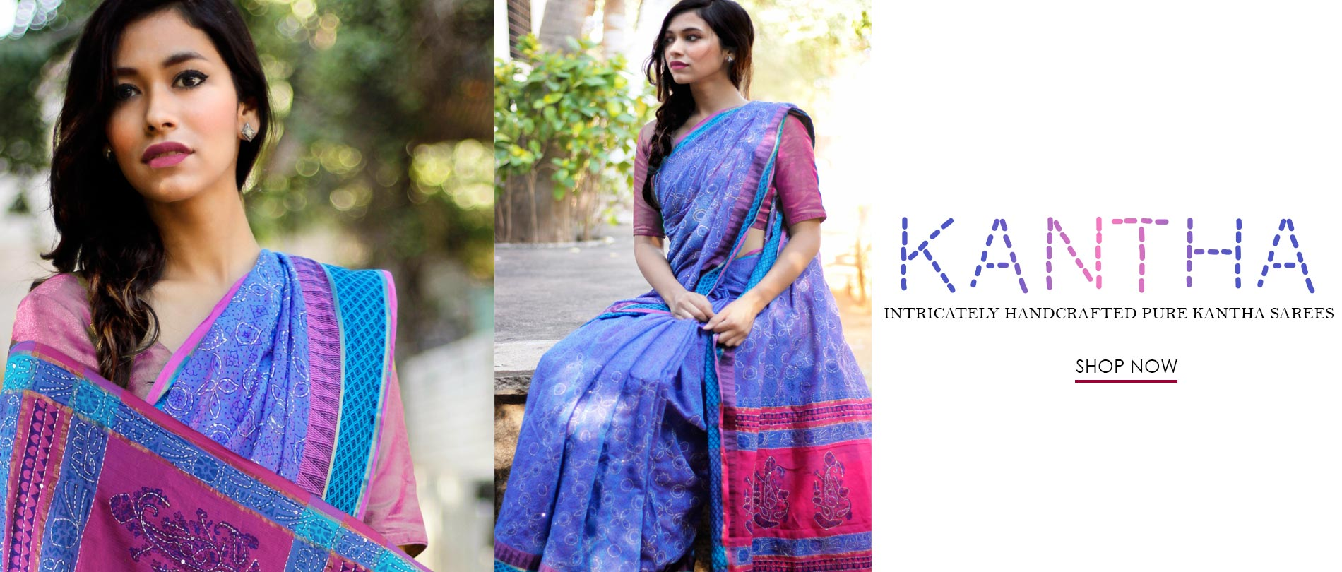 Read how we use the Age old technique of Kantha to tell beautiful stories on Tussar Silk & Cotton Suits